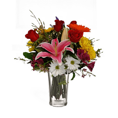 Flower arrangement for All Occasions with starfighter lilies, roses, daisy poms, gerberas, and more arranged in a glass vase