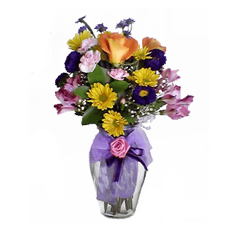 Flower arrangement for All Occasions with roses, daisy poms, Matsumoto asters and more arranged in a garden vase with ribbons