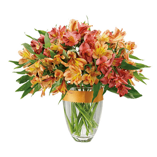 Flower arrangement for All Occasions with red and orange alstroemeria in a glass vase