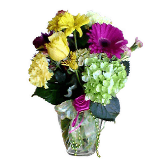 Flower arrangement for All Occasions with roses, carnations, mini green hydrangea, and more arranged in a garden vase