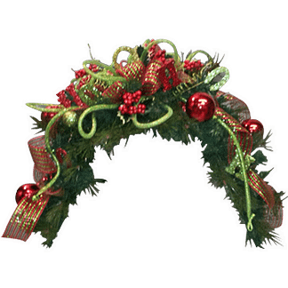 Christmas themed arched wall hanging with artificial evergreen arch, ribbon, permanent berries, decorative rope and Christmas ornaments