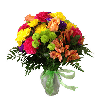 Flower arrangement for All Occasions with Carnations, Roses, Daisies, Kermit Buttons, Alstroemeria, and greenery arranged in a glass vase