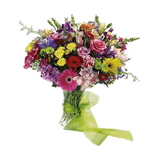 Flower arrangement for All Occasions with gerbera daisy, astroemeria, spray aster,carnations, roses,Asiatic lily and more in a glass vase