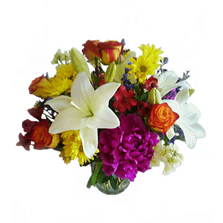 Flower arrangement for All Occasions with Oriental Lilies, Carnations, Roses and more arranged in a glass vase
