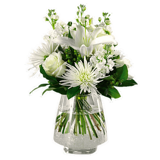 White flower arrangement for any occasions with oriental lily, fuji mums and stock in glass vase