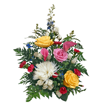 Flower arrangement for All Occasions with delphinium, roses, mini callas, mini carnations, cremone, spray roses and greenery