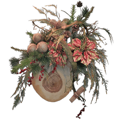 Christmas door decor with permanent Christmas greens, berries, poinsettia blooms and wood