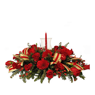 Christmas centerpiece with roses, carnations, evergreens and red berries in a snowman container
