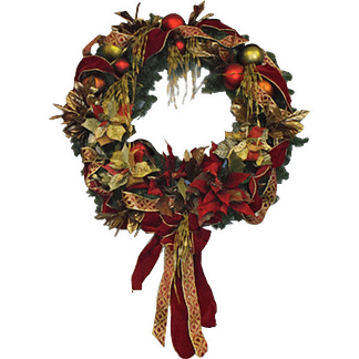 Permanent Christmas door wreath with silk poinsettias, gold leaves, ornament balls and decorative ribbon