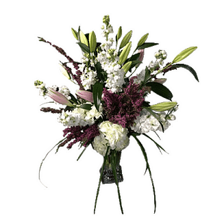 Flower arrangement for All Occasions with stock,oriental lilies,hydrangea, and more arranged in a glass vase