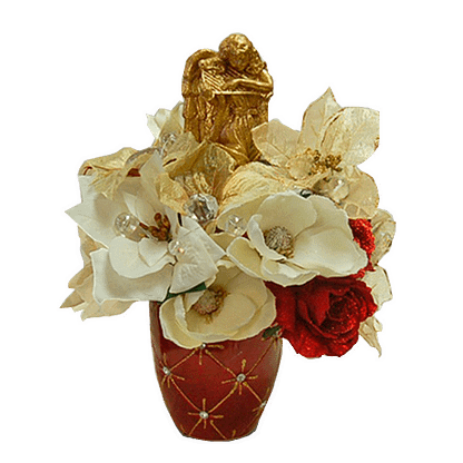 Permanent Christmas flower arrangement with angel and assorted silk flowers in decorative container