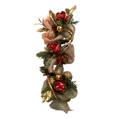 Christmas flower arrangement with decorative ribbon, metallic rope, ornaments, permanent holiday flowers and permanent evergreens