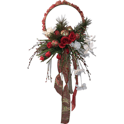 Permanent Christmas door wreath with pine, roses, white blooms, decorative ornaments, berry sprays and decorative ribbon