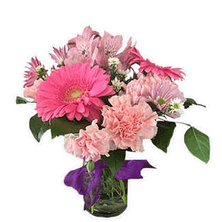Flower arrangement for any occasion with designer's choice of pink blooms arranged in a mason jar and a purple bow