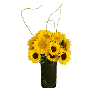 Flower arrangement for all occasions arranged with sunflowers, curly willow and greenery