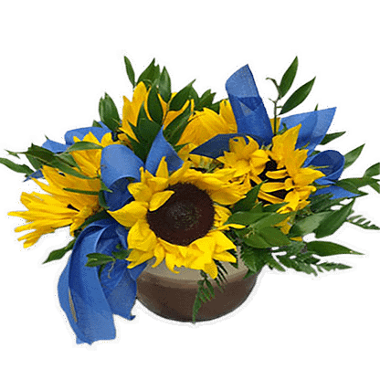 Flower arrangement for All Occasions with sunflowers and greenery