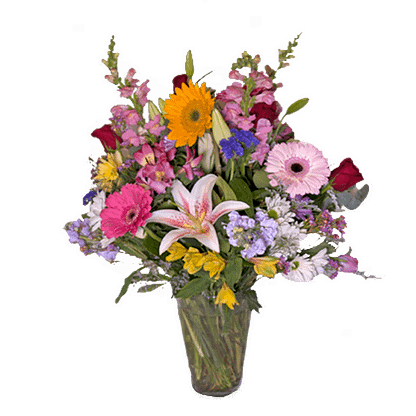 Flower arrangement for All Occasions with gerberas, stargazer lilies, roses, and more arranged in a glass vase