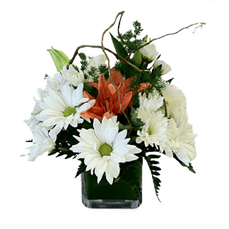 Flower arrangement for all occasions with lilies, daisy poms, curly willow and foliage in a cube vase