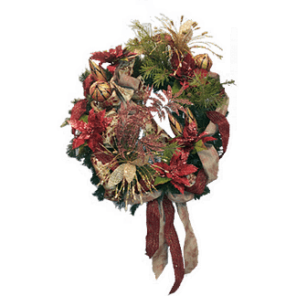 Permanent Christmas door wreath with evergreen wreath, pointsettias, pine sprays, ornaments and more