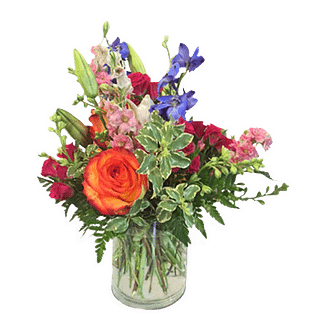 Flower arrangement for All Occasions with roses, larkspur, delphinium, spray roses and more arranged in a cylinder vase