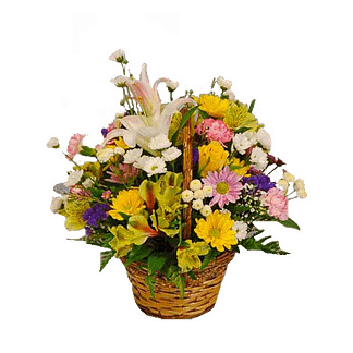 Flower arrangement for All Occasions with lillies, roses, mini carnations and more arranged in a handled basket