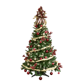 Permanent table top Christmas tree with lights, ornaments, berry clusters and ribbon