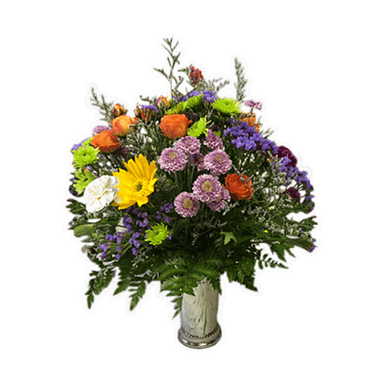 Flower arrangement for any occasion with Kermit poms, button poms, statice, Limonium, mini carnations, gerberas, spray roses, and greenery