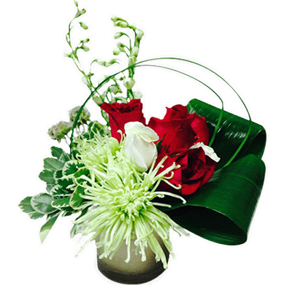 Flower arrangement for any occasion arranged with fuji mums, roses, delphinium, aspidistra, variegated pitt, lily grass