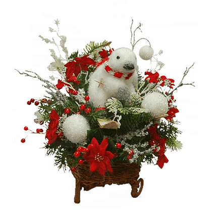 Permanent Christmas flower arrangement with permanent evergreens, silk poinsettias, artificial berries and more