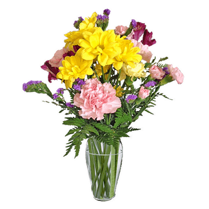 Flower arrangement for all occasions with carnations, mini carnations, static and leather fern in a decorative vase