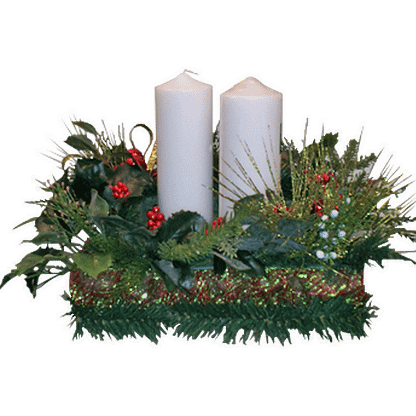 Christmas centerpiece with Two large columnar candles, permanent evergreens, holly berries, styrofoam base, holiday ribbon and evergreen garland