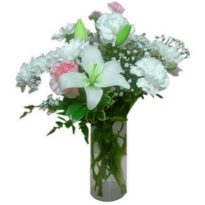 Flower arrangement for any occasion with carnations, mini carnations, daylilies, baby's breath and greenery arranged in a cylinder vase