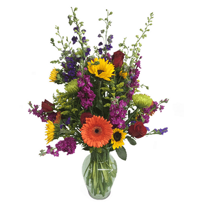 Flower arrangement for all occasions with roses, sunflowers, larkspur and more in a garden vase