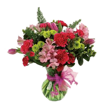 Flower arrangement for All Occasions with carnations, alstroemeria, pompons and more arranged in a glass vase with ribbon