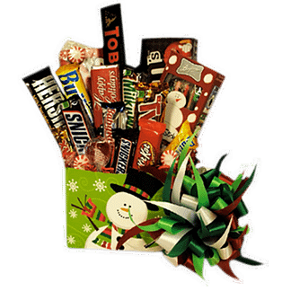Christmas themed gift basket with assortment of candies