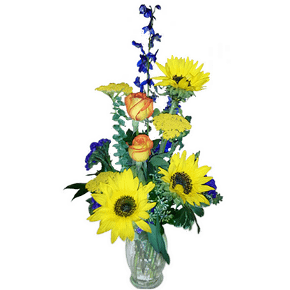 Flower arrangement for any occasion with sunflowers, roses, delphinium and more arranged in a glass vase