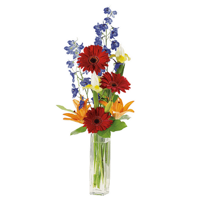 Flower arrangement for All Occasions arranged with gerbera daisy, hybrid lily, iris, delphinium and salal leaf