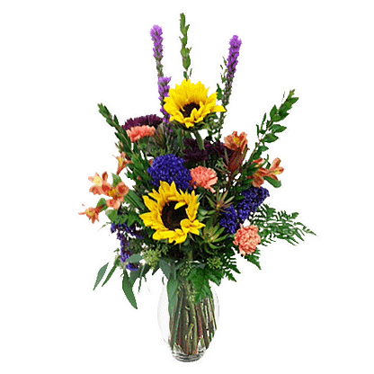 Flower arrangement for All Occasions with Liatris, sunflowers, carnations, alstroemeria, statice, mums and greenery in a glass vase