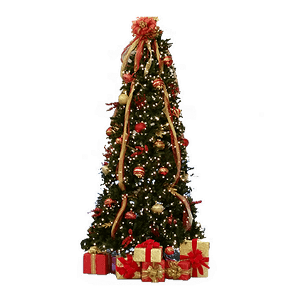 Permanent table top Christmas tree with ornaments, lights, silk flowers, decorated gift boxes and ribbon