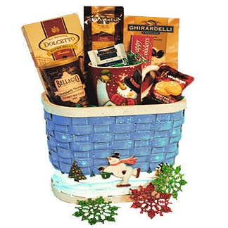 Christmas themed gift basket with variety of candy, cookies and cocoa, coffee mug and decorations in a basket