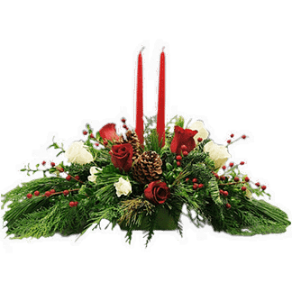 Christmas centerpiece with roses, carnations, artificial berries, pinecones, Christmas greenery, and candles