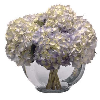 Flower arrangement for any occasion with hydrangeas arranged in a glass bowl