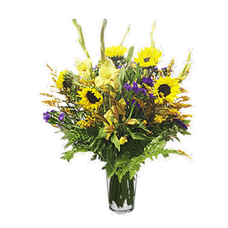 Flower arrangement for any occasion with sunflowers, gladiolus, solidaster and more arranged in a glass vase