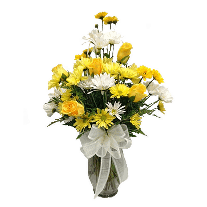 Flower arrangement for all occasions with roses, daisy poms and leather fern in a garden vase