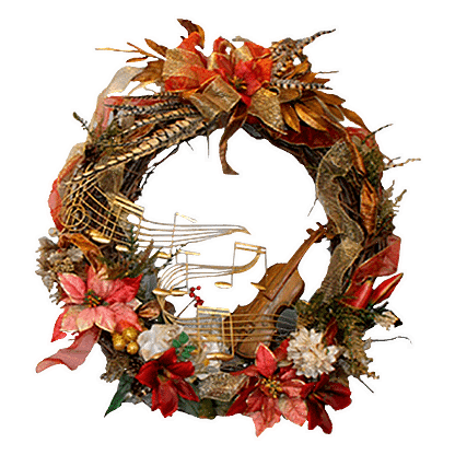 Permanent Christmas wreath with music garland, silk poinsettias, silk mums, ornaments and more