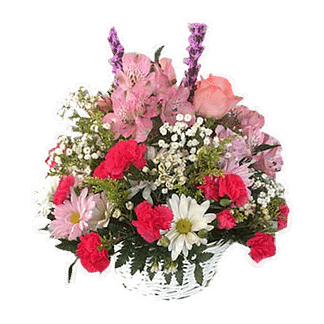 Flower arrangement for any occasion with designer's choice of pink blooms arranged in a basket