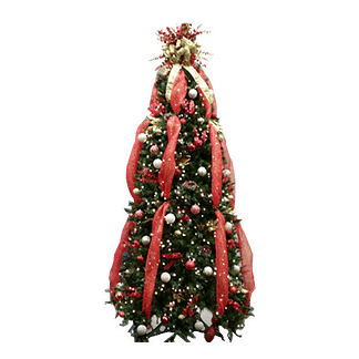 Permanent tabletop Christmas tree with ornaments, lights, silk flowers and ribbon