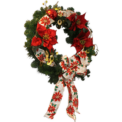 Permanent Christmas wreath with silk poinsettias, decorative ribbon and holiday ornaments
