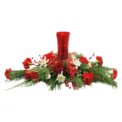 Christmas centerpiece with carnations, roses, poms, evergreens, artificial berries, hurricane glass and candle