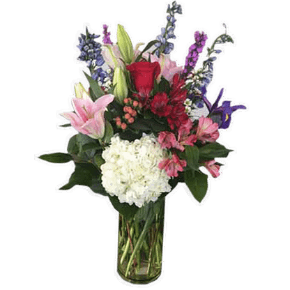 Flower arrangement for any occasion with hybrid delphinium, roses, lilies, alstroemeria, hydrangea, iris and more in a glass vase